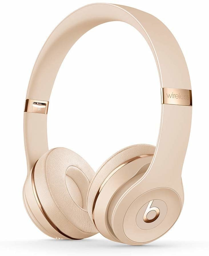 The gold over-ear headphones