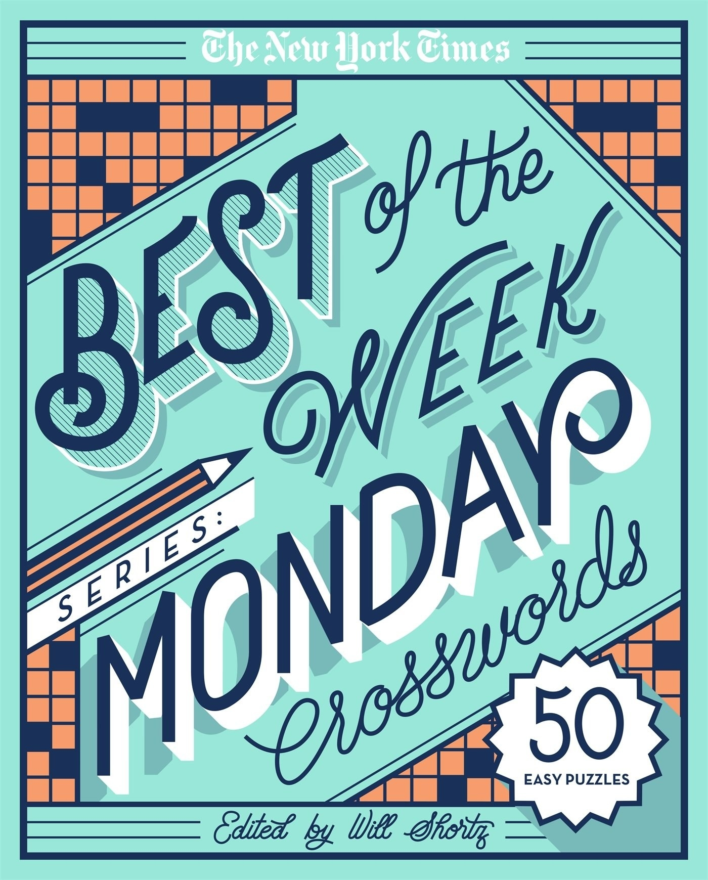 the teal cover of the new york times monday crossword book