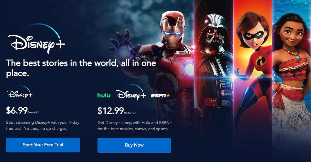 A screenshot of the subscription page, with options for just Disney_ for $6.99 and Disney, Hulu, and ESPN+ for $12.99