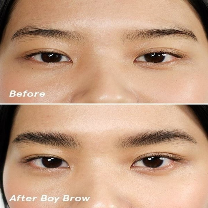 a model's eyebrows before and after using the product