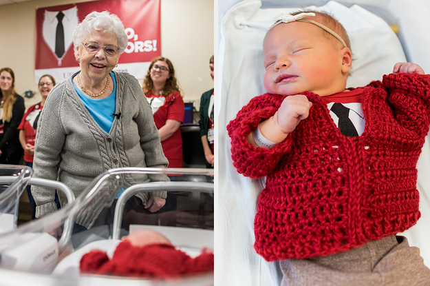 A Hospital Surprised Mr. Rogers' Wife With Babies Dressed In Cardigans And My Cold Little Heart Is Full