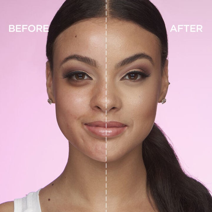 a before and after photo of a model's face with concealer