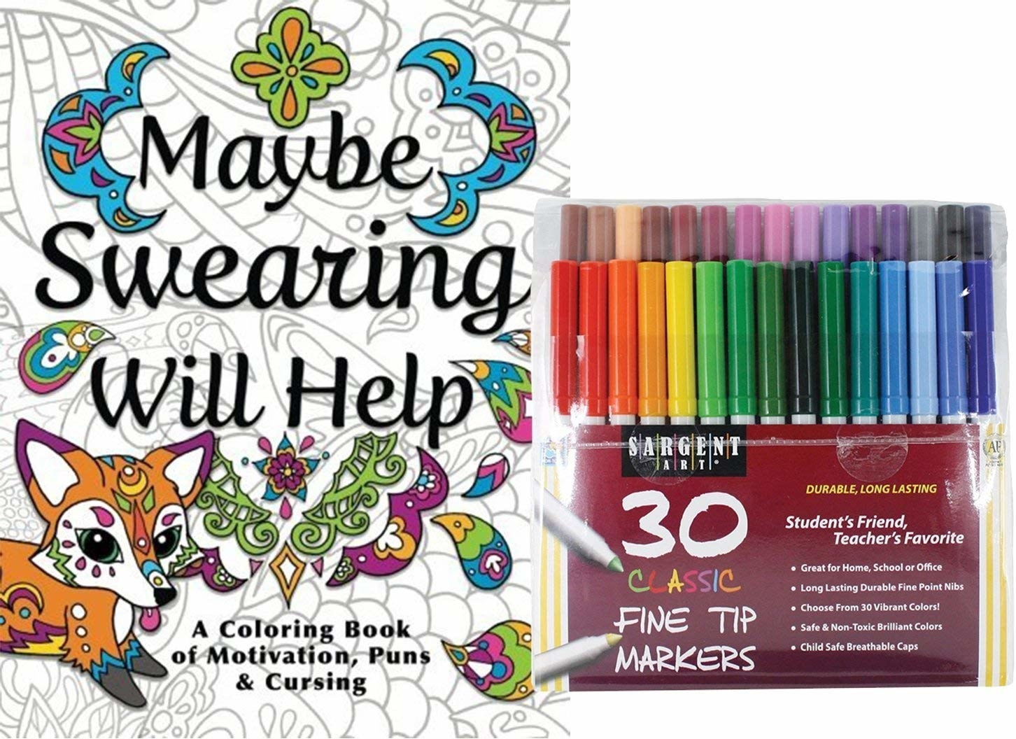 "the coloring book called ""Maybe Swearing Will Help"" and the pack of markers"