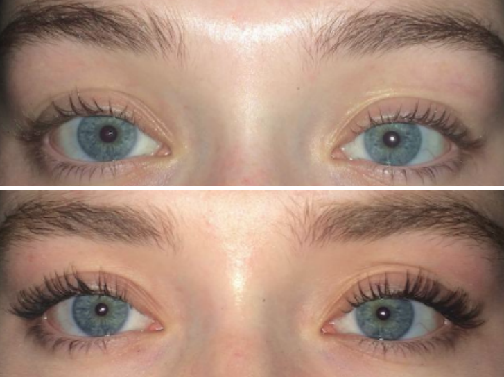 a reviewer's before and after photos with and without the mascara