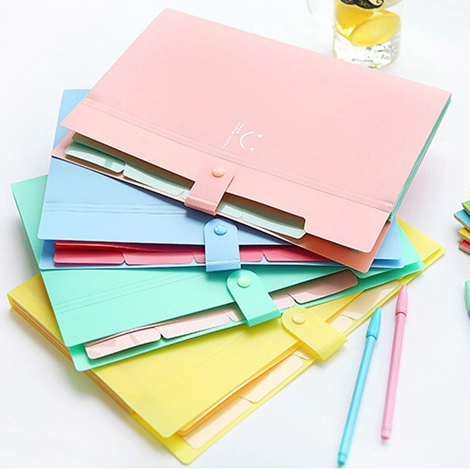 accordion folders in pastel colors