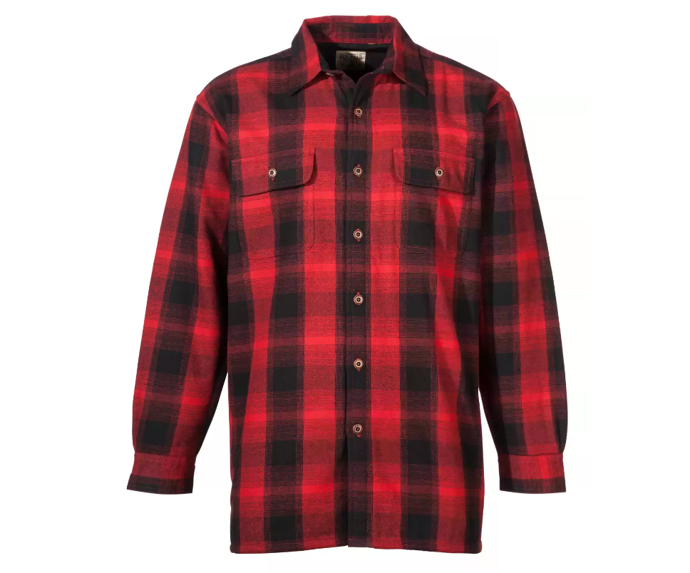 red, black buffalo plaid long sleeve button down shirt