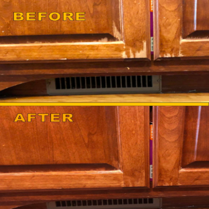 reviewer pic of scratched up wood kitchen cabinets, then them looking new with the help of the wood polish
