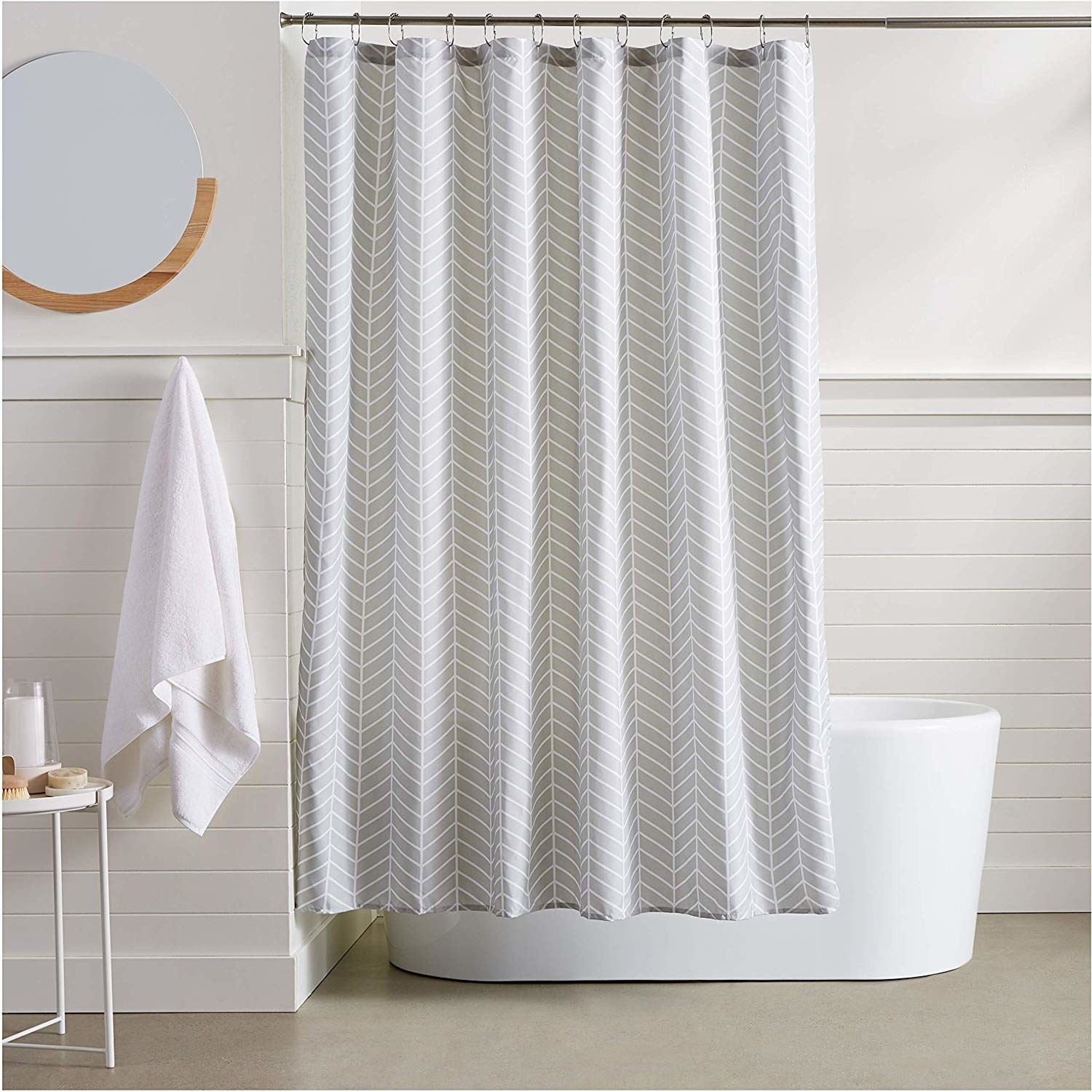 a gray herringbone shower curtain