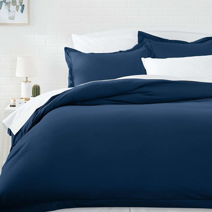 a navy blue bedding set