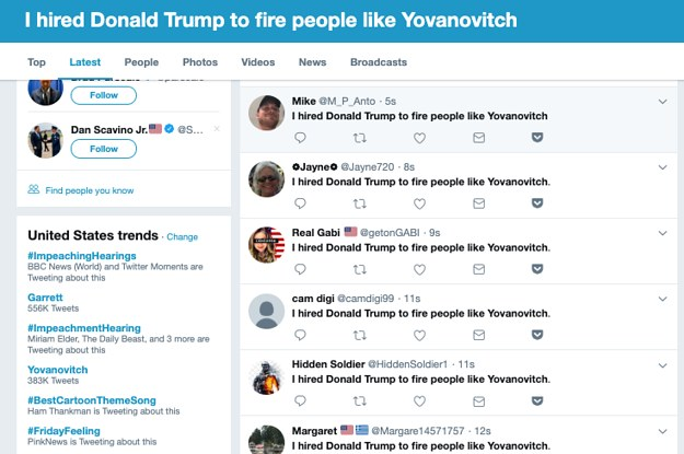 """Twitter Has Suspended Several Accounts That Tweeted """"I Hired Donald Trump To Fire People Like Yovanovitch"""