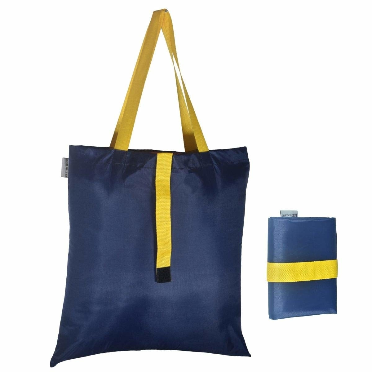 A navy blue and yellow bag pictured in its full-size and folded.