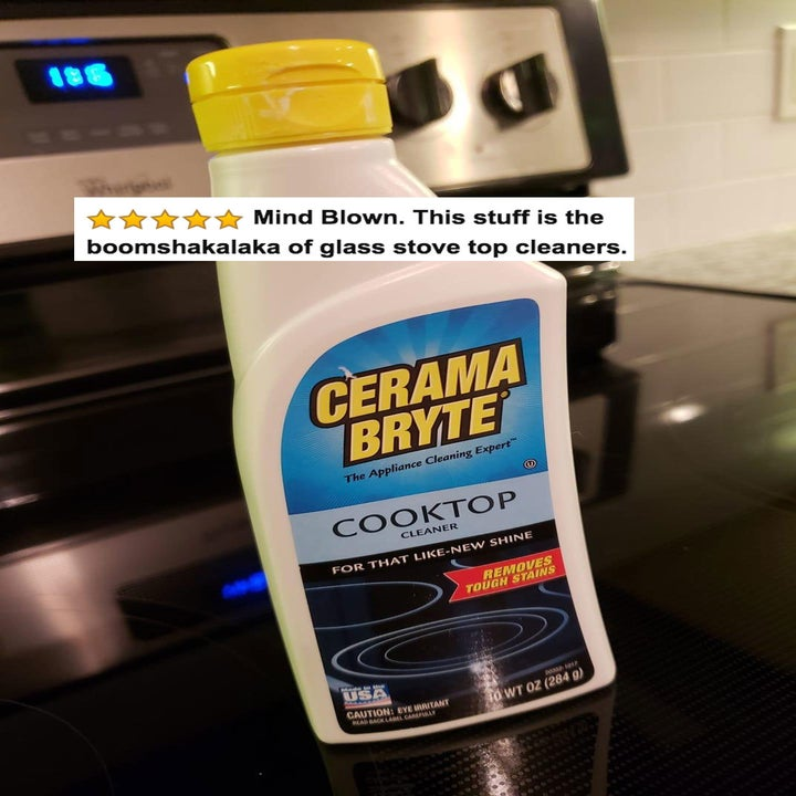 "The bottle of cleaner with five stars and review text ""mind blown. this stuff is the boomshakalaka of glass stove top cleaners"""