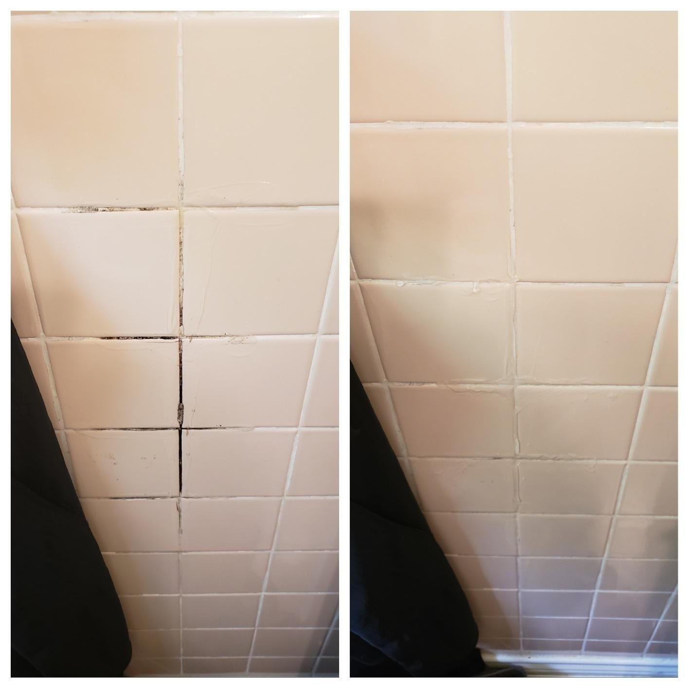 A reviewer's tile before and after removing black mold/grime on the grout