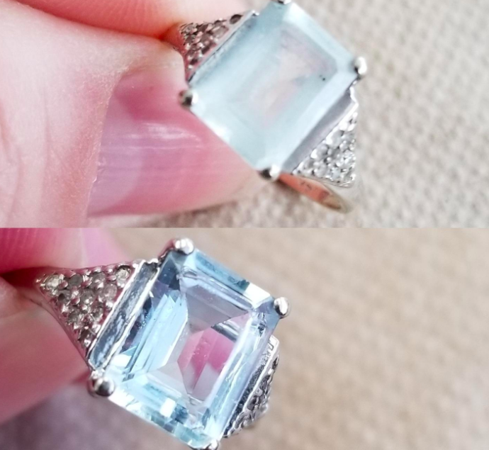 On the top, a reviewer's ring looking fogged up, and on the bottom, the same ring now looking shiny and clear