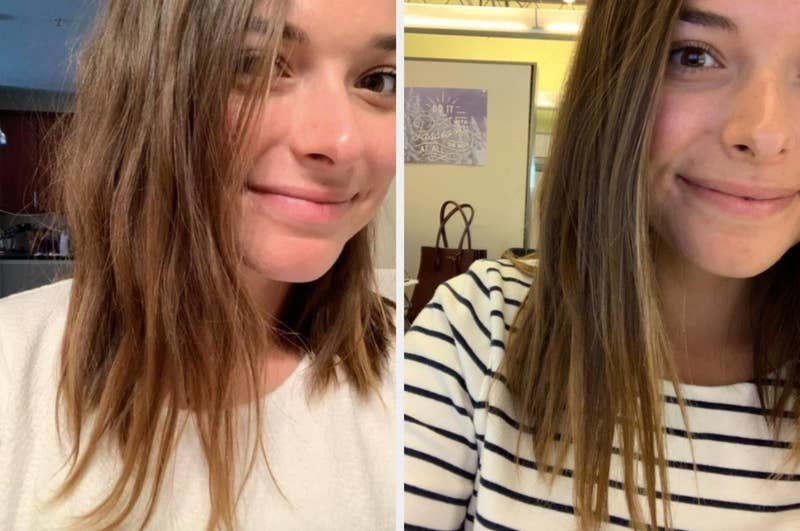 On the left, a reviewer's hair looking dry and damaged, and on the right, the same reviewer's hair now looking smooth and healthier