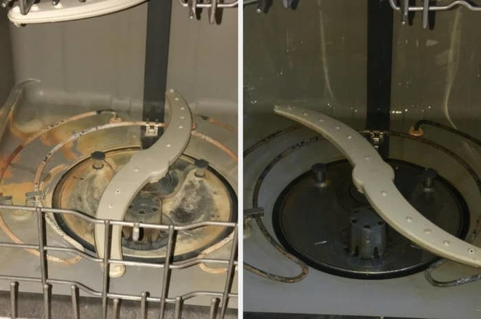 On the left, the inside of a dishwasher looking gunked up ad dirty, and on the right, the same dishwasher now looking much cleaner