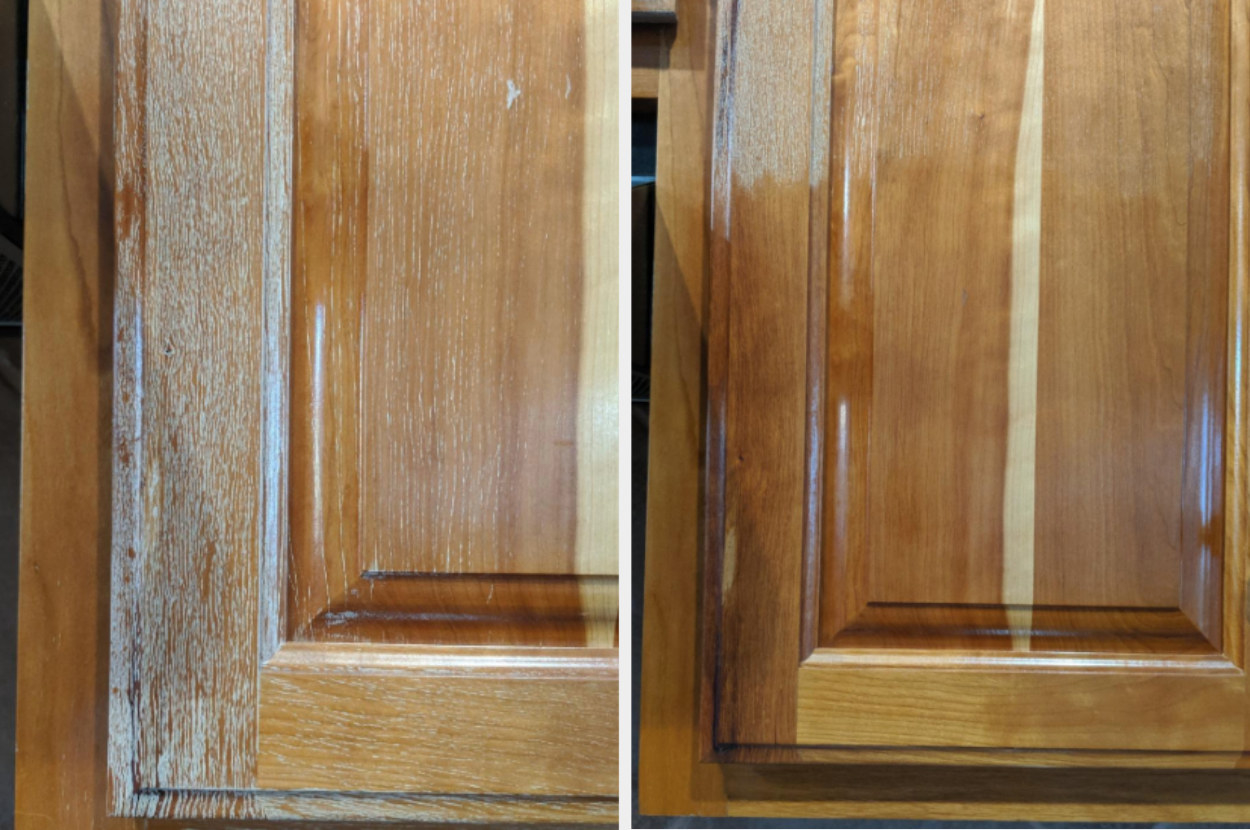 On the left, a wooden cabinet looking worn out, and on the right, the wooden cabinet starting to look brand new after using the polish