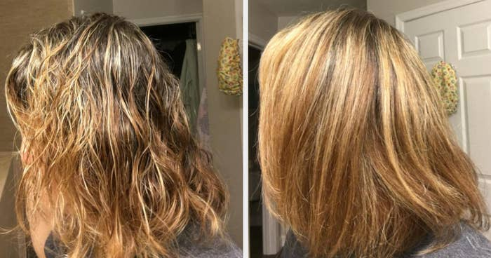 On the left, a reviewer's hair that is wet and messy, and on the right, the same reviewer's hand now looking perfectly blow dried