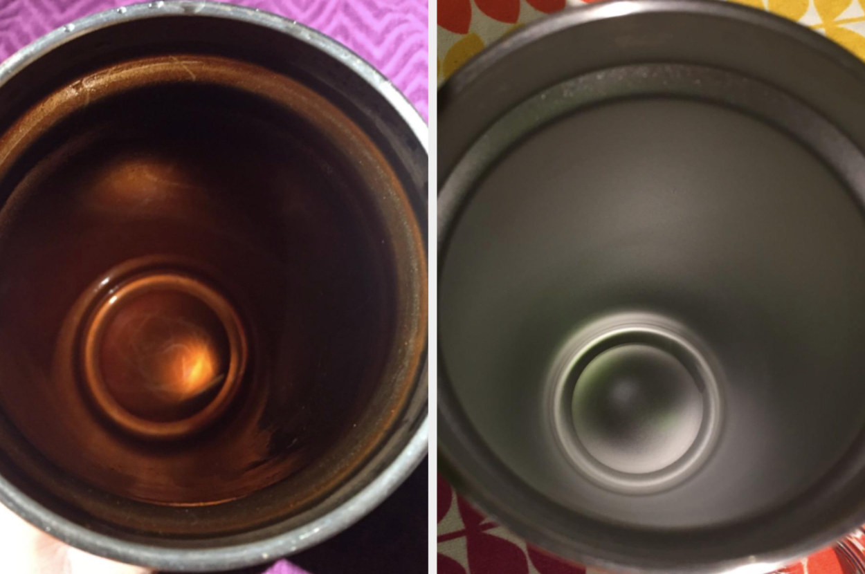 On the left, the inside of a water bottle looking rusty and dirty, and on the right, the same water bottle now looking clean and new