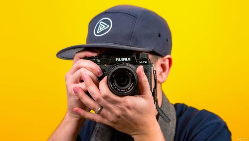 model aiming a camera