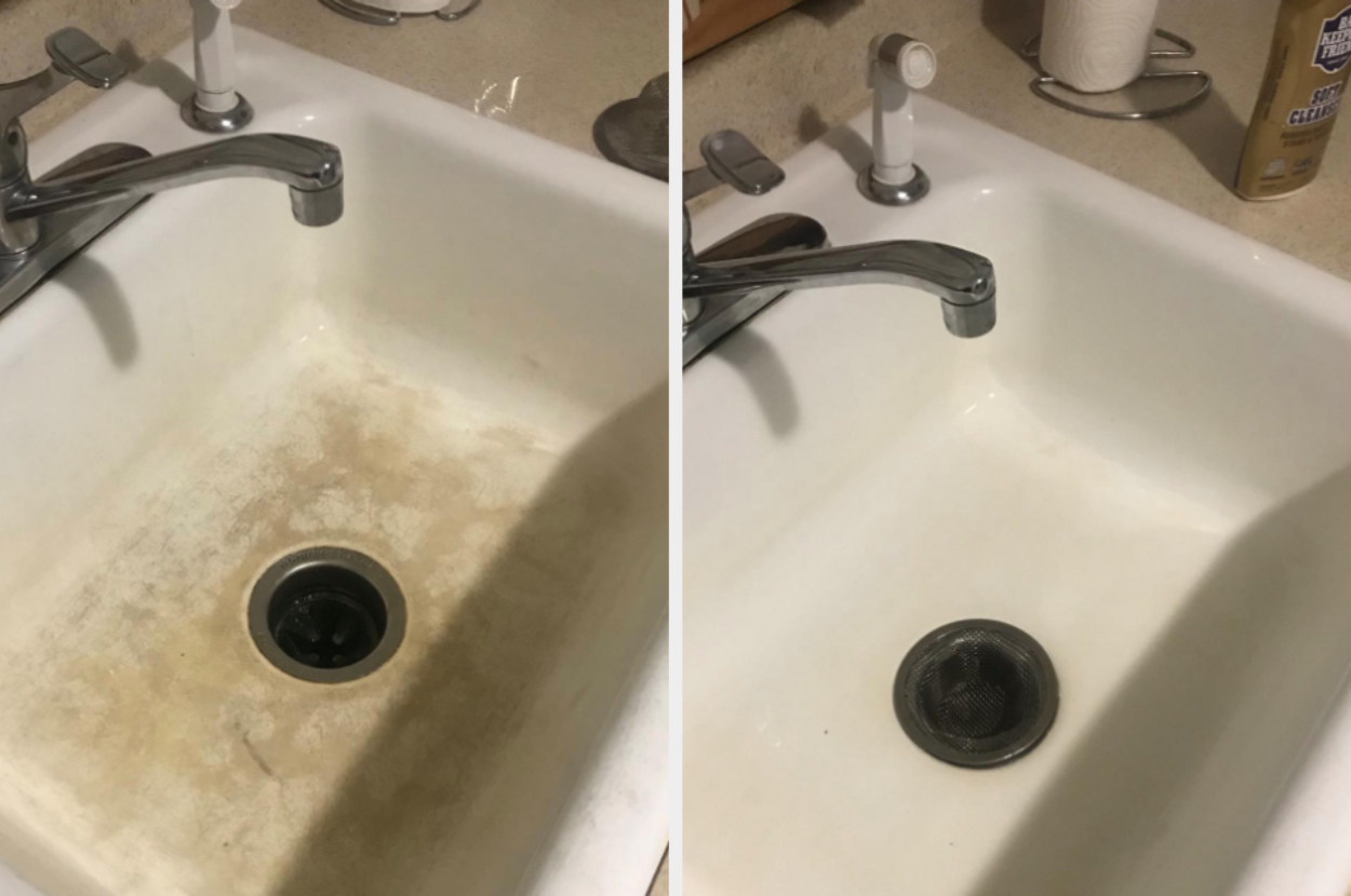 On the left, the bottom of a sink looking dirty, and on the right, the same sink now looking clean