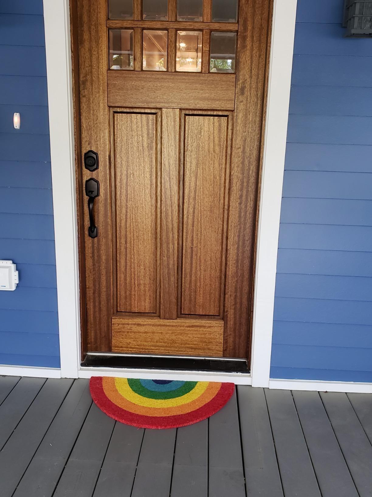 doormat shaped like semi circle rainbow