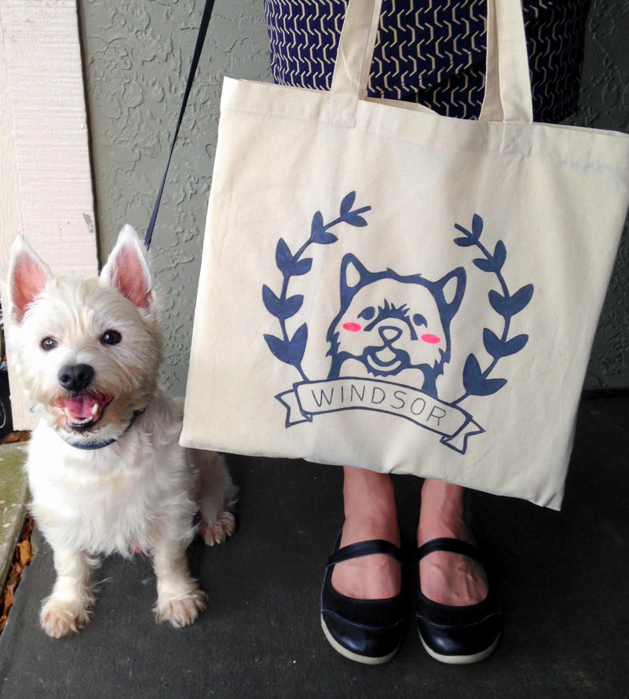 Black Dog on Mint Ice Cream Sandwich Tote Bag-Birthday-Housewarming-Mother/'sDay-Shower