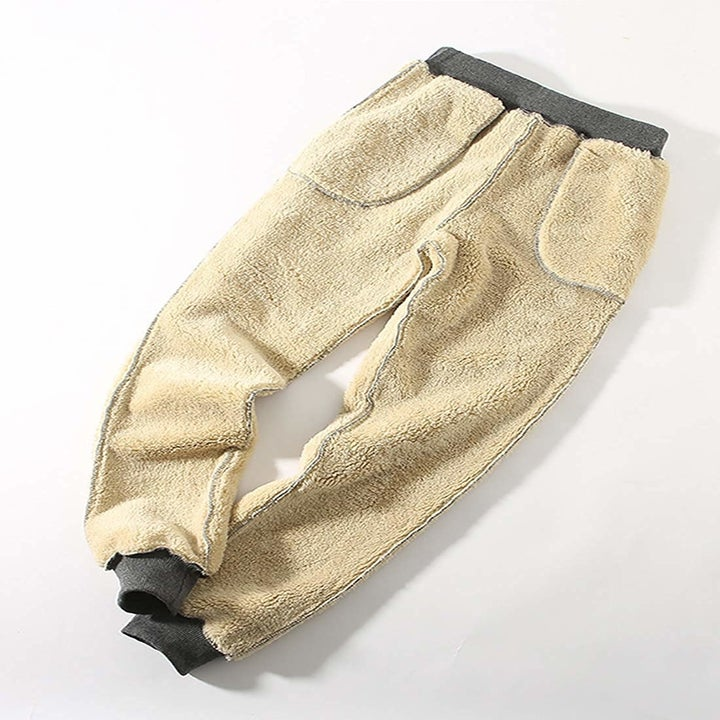 The pants inside out to show the cream sherpa lining