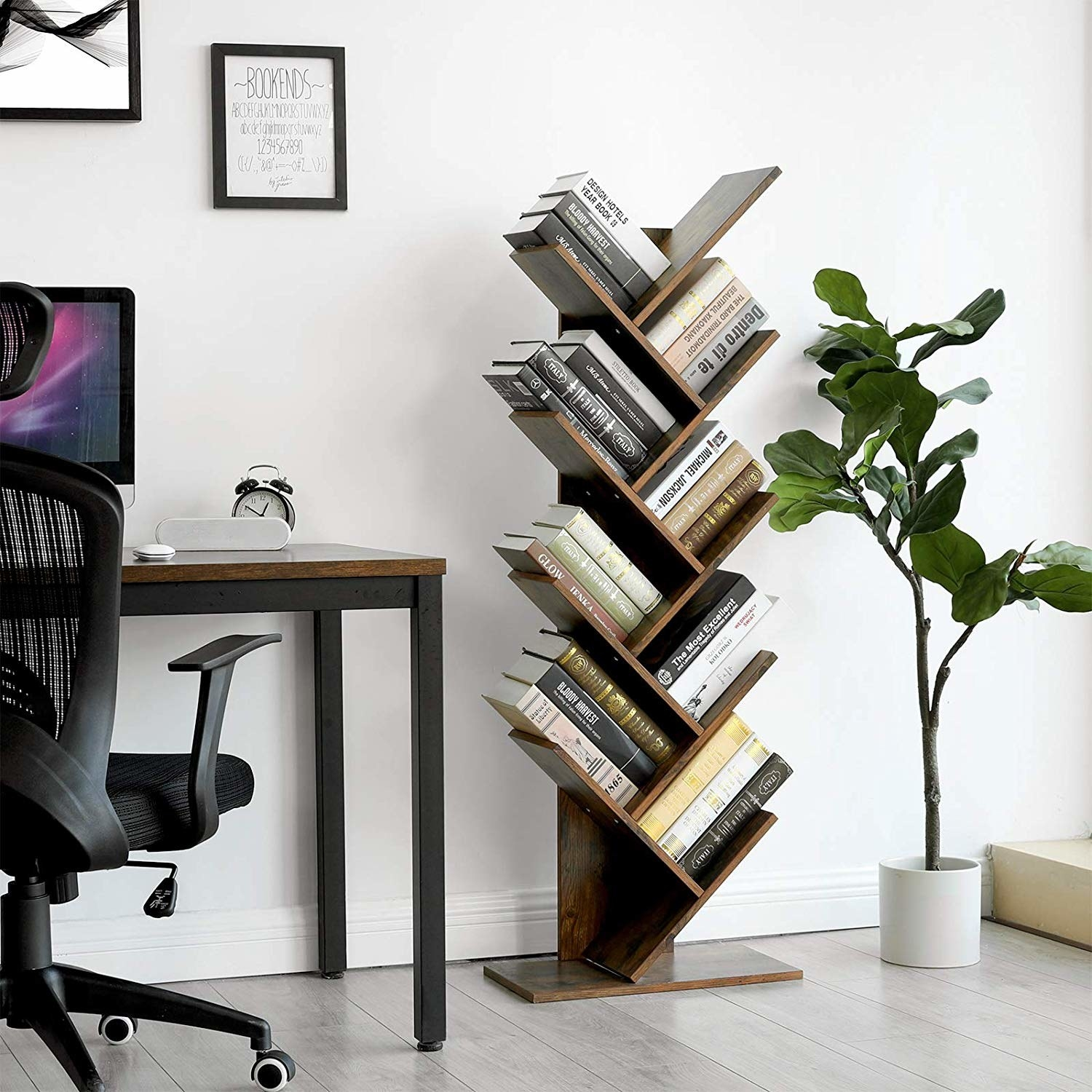 the bookcase which is vertical with slanted shelves