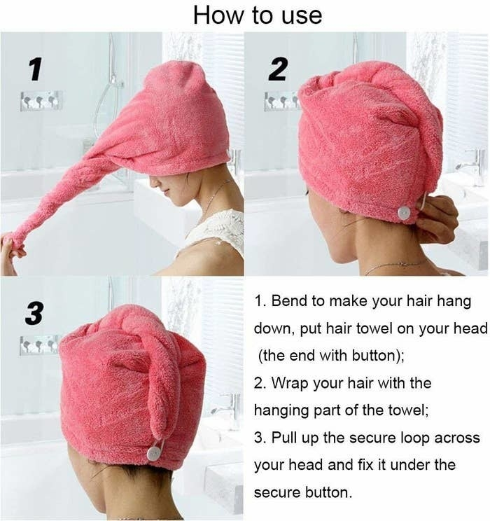 Model twisting it up. it says: Bend to hang your hair down, but hair towel on your head. Wrap your hair with the hanging part. pull up the loop in front and secure it under your button