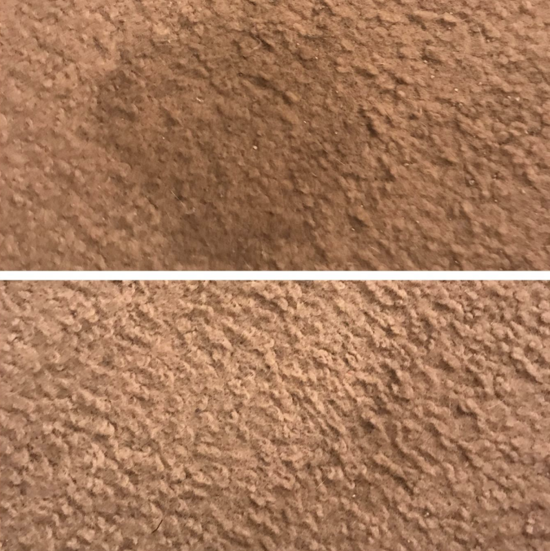 Reviewer before-and-after photo of using stain remover pads