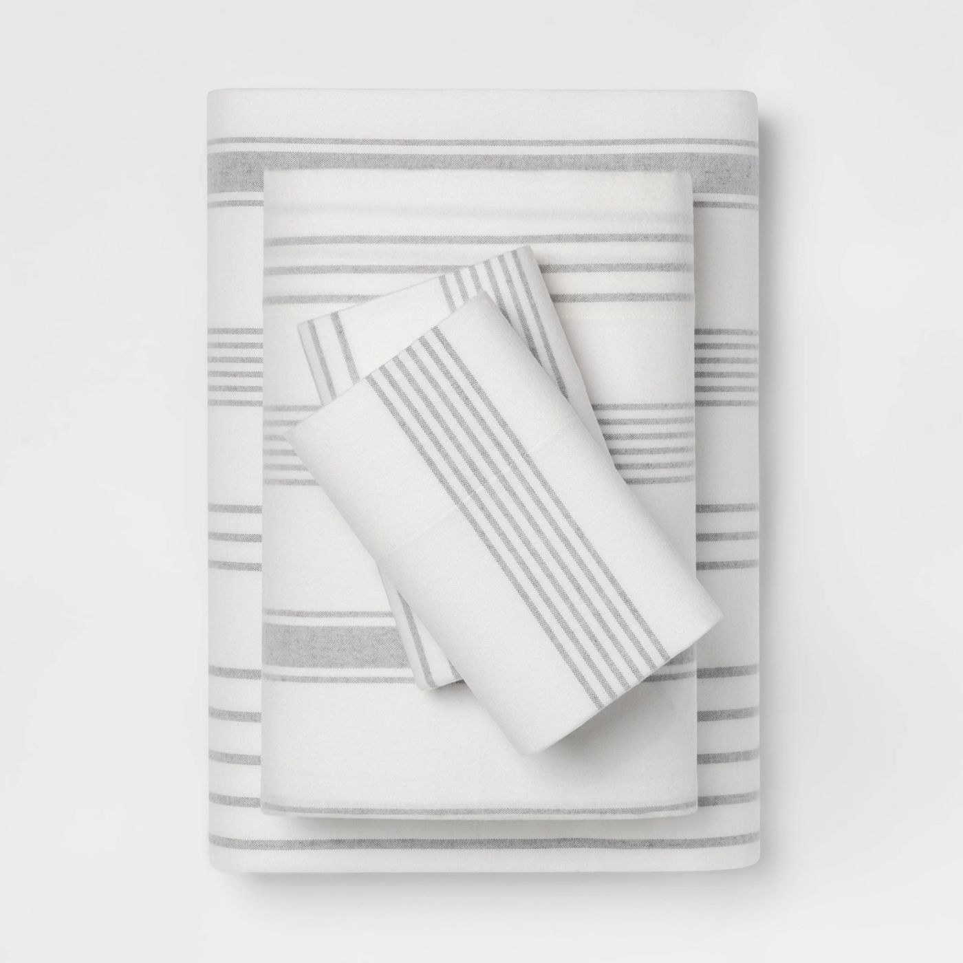 The white and grey striped sheets