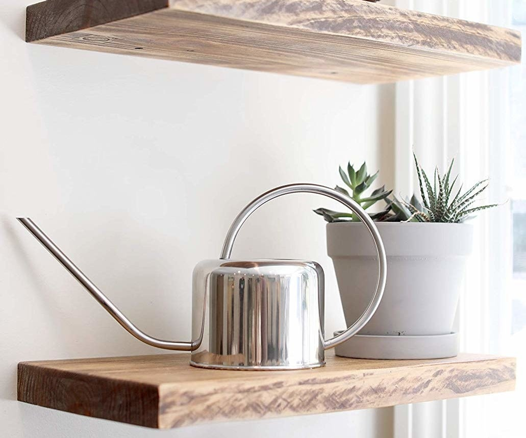 The small silver watering can with a large circular handle and spout sitting on a shelf