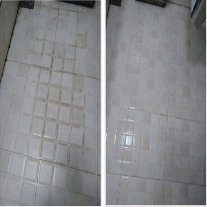 Before: a reviewer's dirty tile floor and After: the same floor, with no dirt in sight
