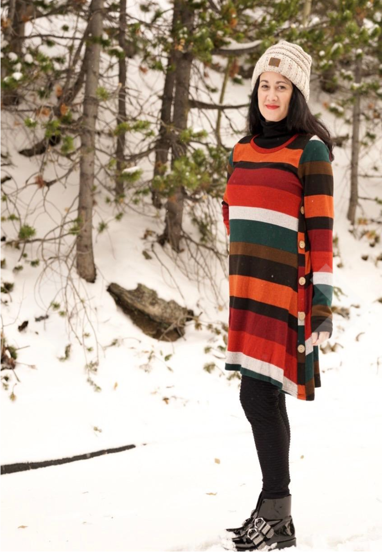 the dress in orange red and black stripes