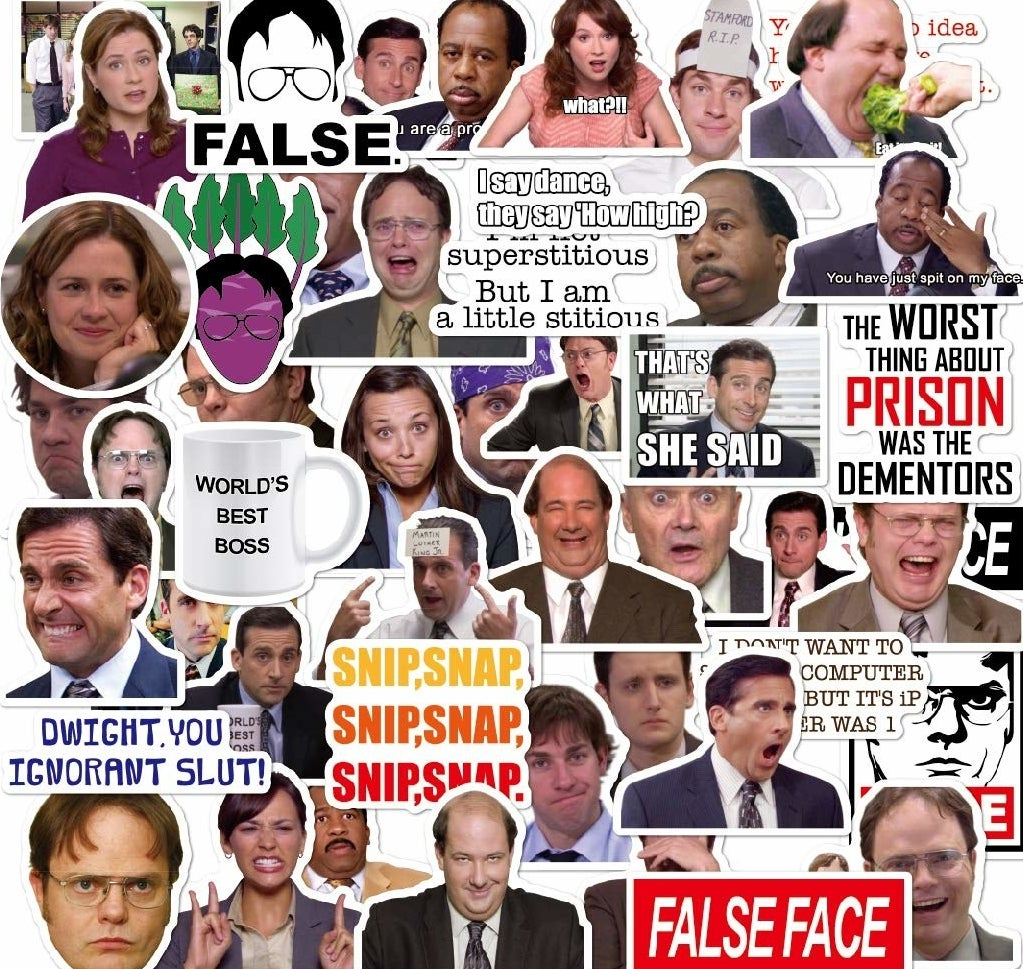 stickers with various office characters and jokes