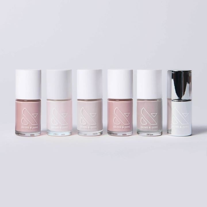a line up of neutral pink colors