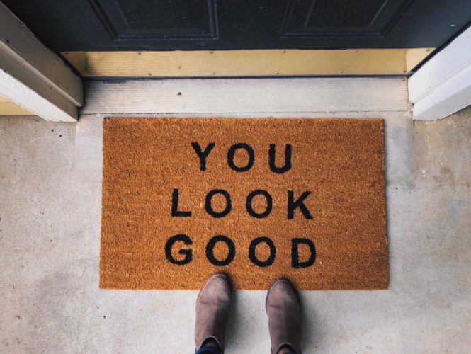 """brown and black doormat that reads """"you look good"""""""