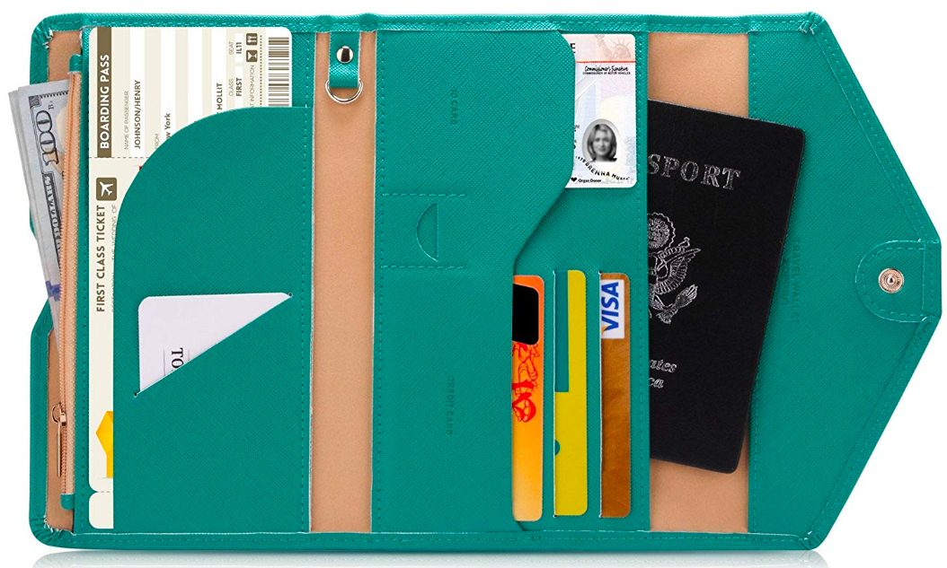 the wallet open, showing slots for a passport, boarding pass, and cash, and smaller ones for a hotel keycard and credit cards or transit passes