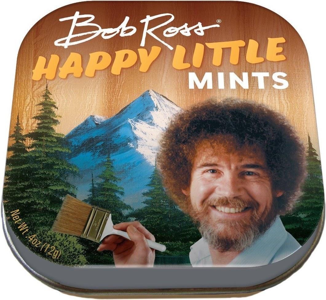 bob ross on a tin of mints