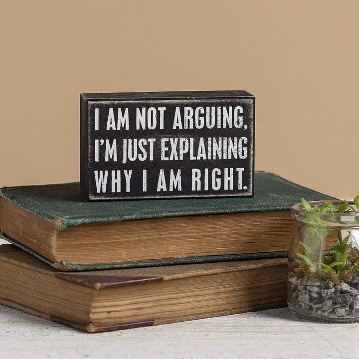 """a snarky sign that says """"I am not arguing. I'm just explaining why I am right."""""""