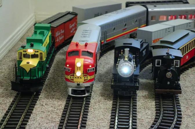 model trains on the floor