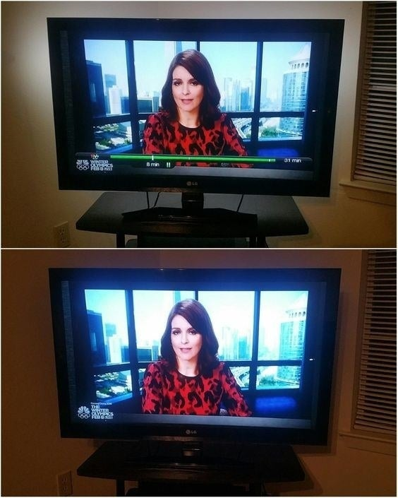 reviewer photo of TV with glare before using the strips and without glare after using the strips
