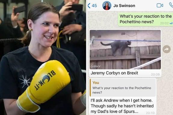 Lib Dem Leader Jo Swinson Was Shut Out Of The TV Debate. So She Spent It WhatsApping Us