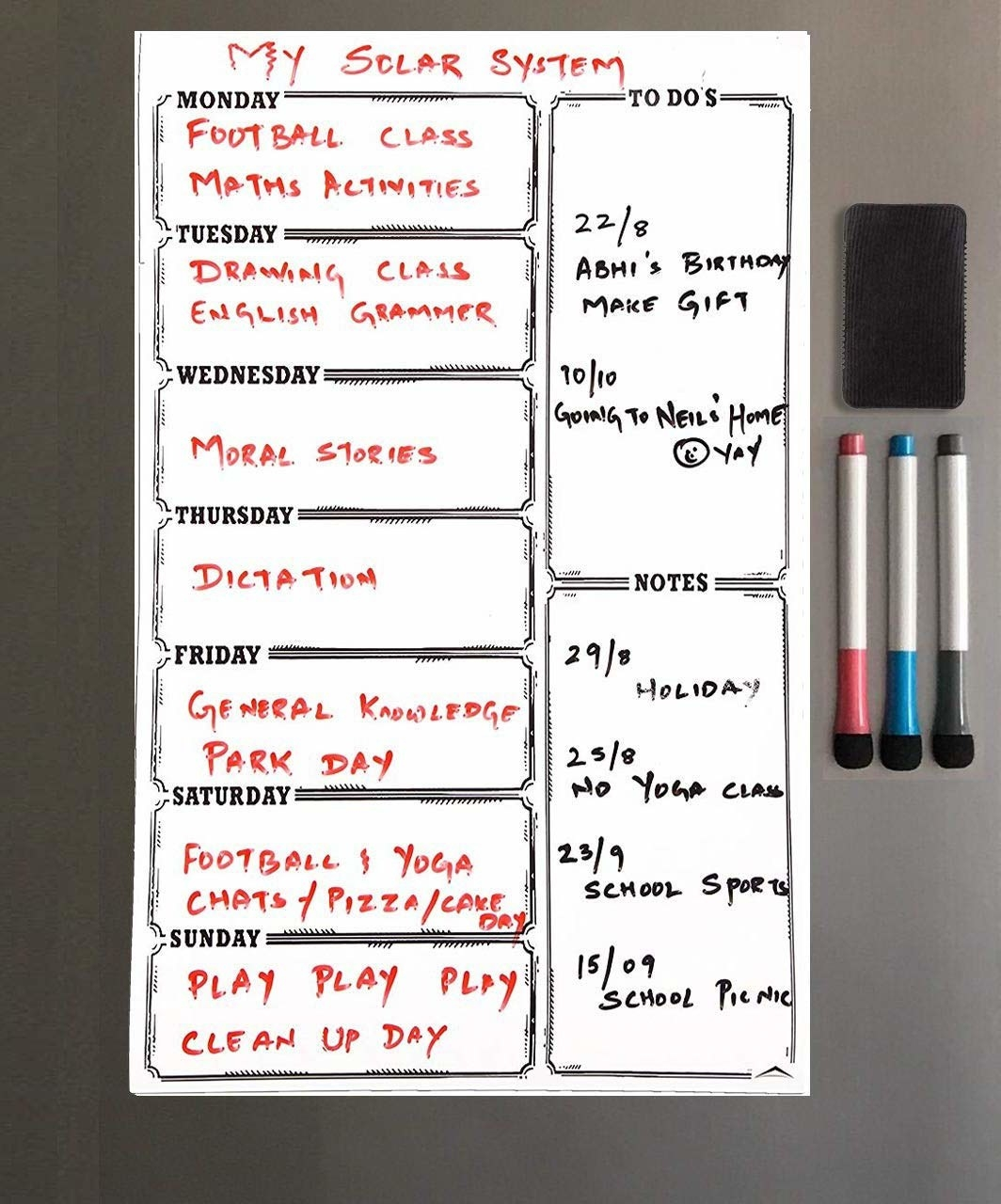 A whiteboard stuck magnetically to a fridge with a person's task outlined on it, besides three marker pens.