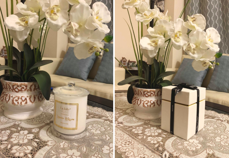 reviewer image showing candle and the gift-ready box it came in
