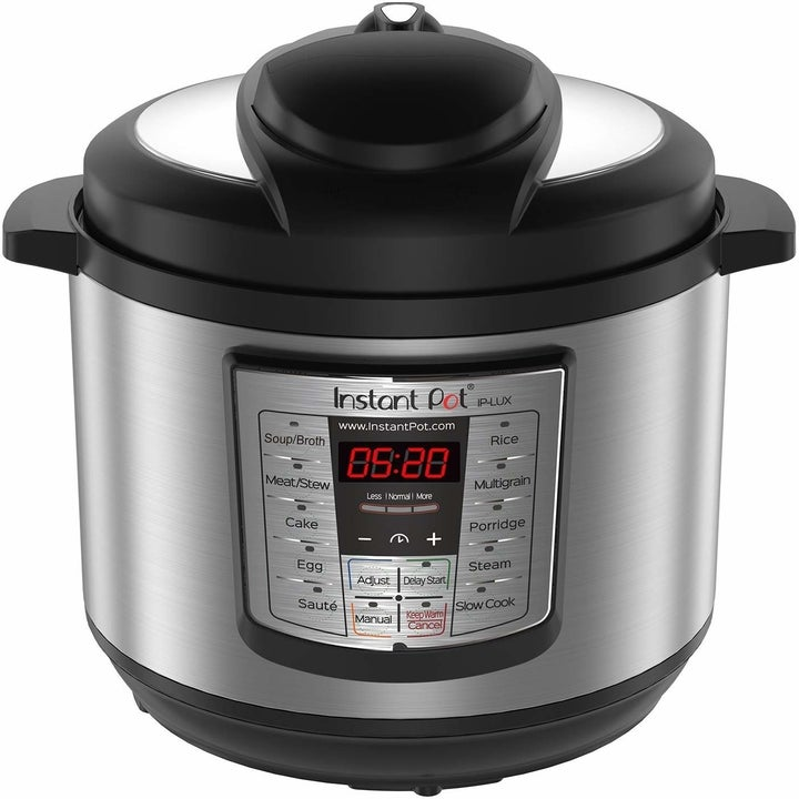 the silver and black round instant pot