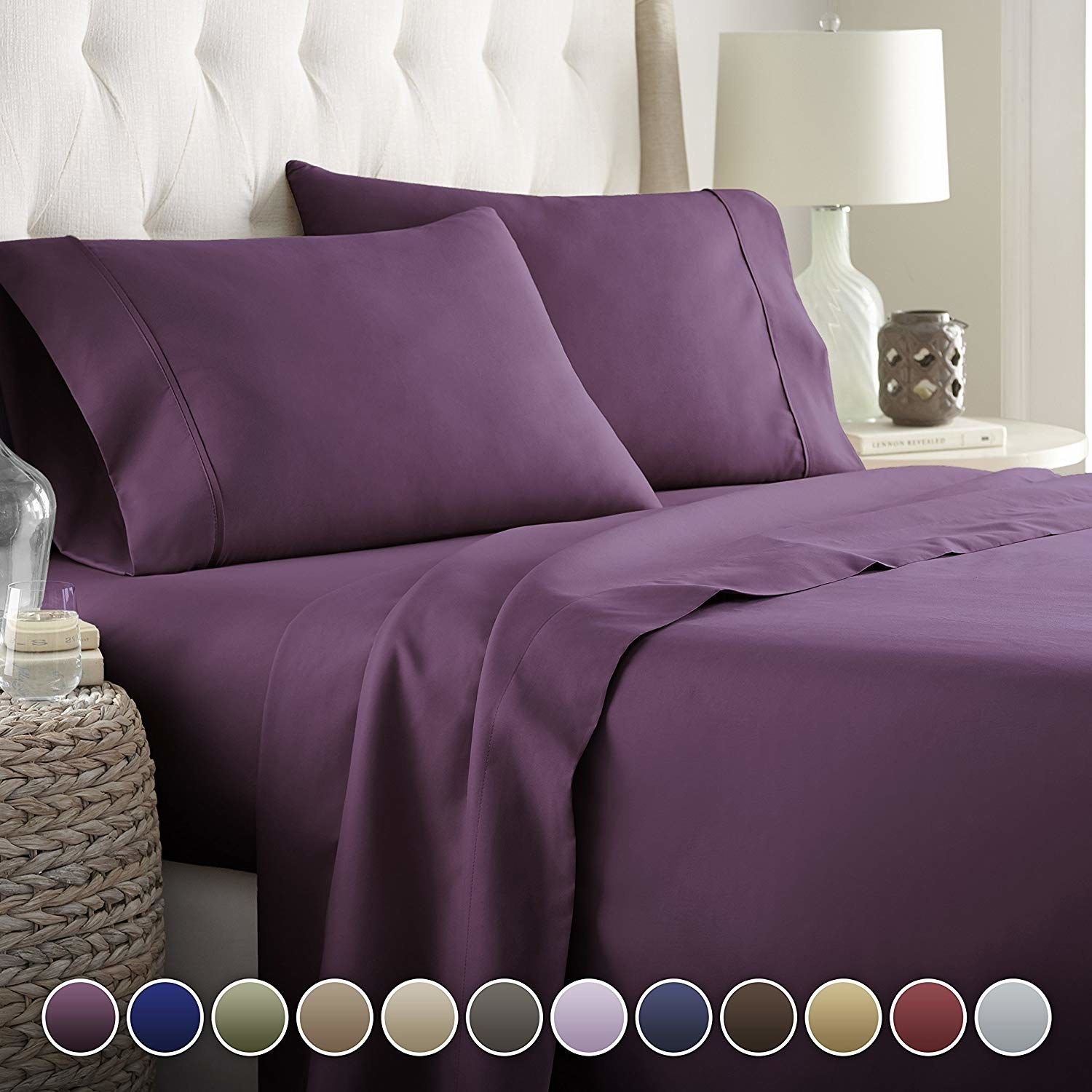 the sheets in eggplant purple