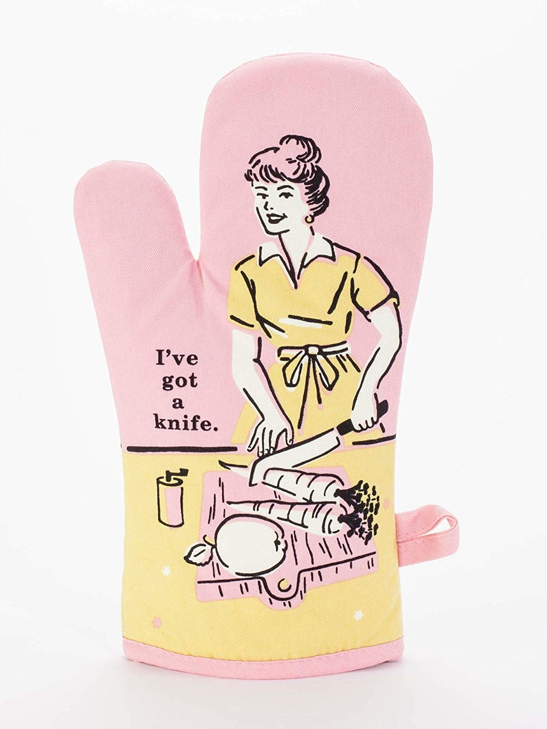 "oven mitt with vintage illustration of woman cutting carrots and saying ""I've got a knife"""