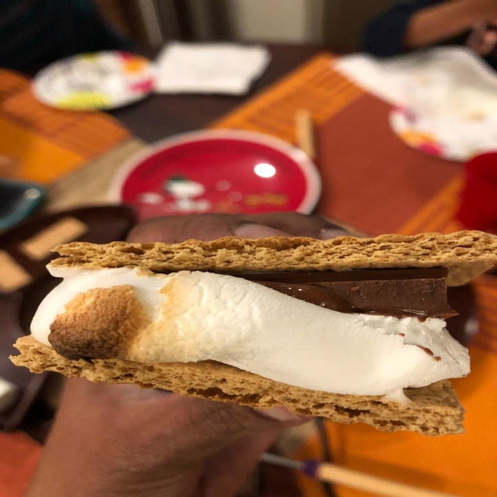Reviewer's s'mores showing a toasted marshmallow